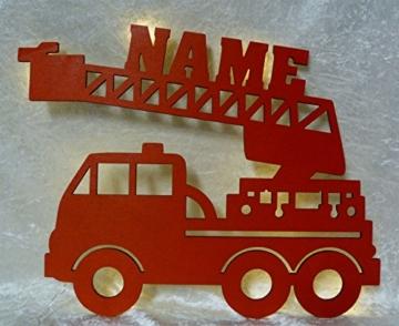 Schlummerlicht24 Led Feuerwehr Wagen - Feuerwehrauto Auto Name Geschenk Deko Feuerwehrzimmer Kinderzimmer Geburtstagsgeschenk Junge - 2