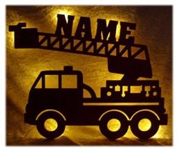 Schlummerlicht24 Led Feuerwehr Wagen - Feuerwehrauto Auto Name Geschenk Deko Feuerwehrzimmer Kinderzimmer Geburtstagsgeschenk Junge - 1
