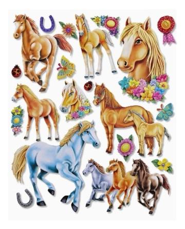 Stickerkoenig Wandtattoo 3D Sticker Wandsticker Kinderzimmer - niedliche Pferde XXL Set - Deko auch für Fenster, Schränke, Türen etc auf Bogen - 1