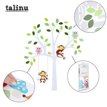 TALINU Wandsticker für Baby- oder Kinder-Zimmer; Motiv: Baum mit Blättern und Tieren – haftet an allen glatten und sauberen Oberflächen– Wand-Aufkleber, Wand-Tattoo, Wanddekoration - 2