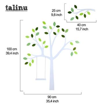TALINU Wandsticker für Baby- oder Kinder-Zimmer; Motiv: Baum mit Blättern und Tieren – haftet an allen glatten und sauberen Oberflächen– Wand-Aufkleber, Wand-Tattoo, Wanddekoration - 3