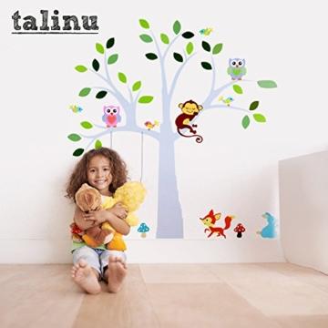 TALINU Wandsticker für Baby- oder Kinder-Zimmer; Motiv: Baum mit Blättern und Tieren – haftet an allen glatten und sauberen Oberflächen– Wand-Aufkleber, Wand-Tattoo, Wanddekoration - 4