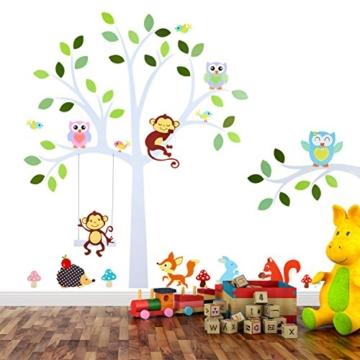 TALINU Wandsticker für Baby- oder Kinder-Zimmer; Motiv: Baum mit Blättern und Tieren – haftet an allen glatten und sauberen Oberflächen– Wand-Aufkleber, Wand-Tattoo, Wanddekoration - 1
