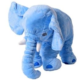 tevenger teprovo XXL Elefant Kuscheltier Einschlafen Baby Kissen Kleinkind Plüschelefant Plüsch Stoff 68 cm groß blau hellblau SGS geprüft - 1