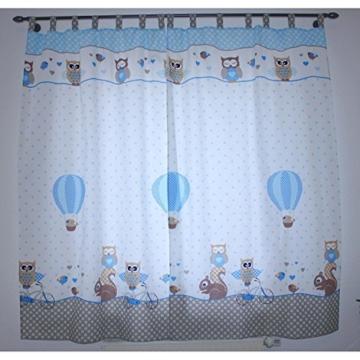 TupTam Kinderzimmer Vorhäng 2er Set mit Schleifen 155x95cm, Farbe: Eulen 2 Blau, Größe: ca. 155x95 cm - 2