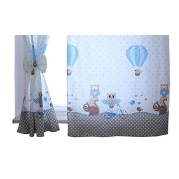 TupTam Kinderzimmer Vorhäng 2er Set mit Schleifen 155x95cm, Farbe: Eulen 2 Blau, Größe: ca. 155x95 cm - 3