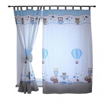 TupTam Kinderzimmer Vorhäng 2er Set mit Schleifen 155x95cm, Farbe: Eulen 2 Blau, Größe: ca. 155x95 cm - 1