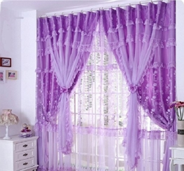 Unimall 4565730 Fenster Vorhang Tulle Voile B x H: 150 x 280 cm, 2 pcs Violett - 1