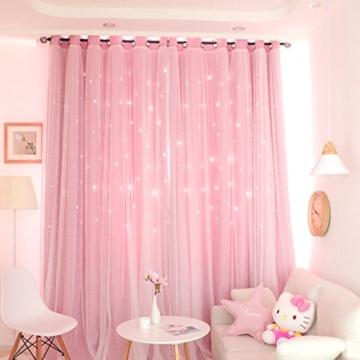 VORCOOL Sterne Vorhänge Blickdicht Gardinen Verdunkelungsvorhänge 2 Schichten Aushöhlen Form mit Ösen Gaze für Mädchen Party Schlafzimmer Deko (Rosa) - 2