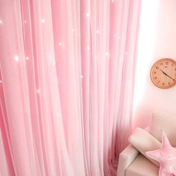 VORCOOL Sterne Vorhänge Blickdicht Gardinen Verdunkelungsvorhänge 2 Schichten Aushöhlen Form mit Ösen Gaze für Mädchen Party Schlafzimmer Deko (Rosa) - 3