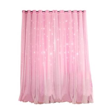 VORCOOL Sterne Vorhänge Blickdicht Gardinen Verdunkelungsvorhänge 2 Schichten Aushöhlen Form mit Ösen Gaze für Mädchen Party Schlafzimmer Deko (Rosa) - 1