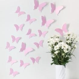 Wandkings Schmetterlinge im 3D-Style in ROSA, 12 Stück, Wanddekoration mit Klebepunkten zur Fixierung - 1