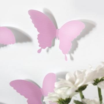 Wandkings Schmetterlinge im 3D-Style in ROSA, 12 Stück, Wanddekoration mit Klebepunkten zur Fixierung - 4