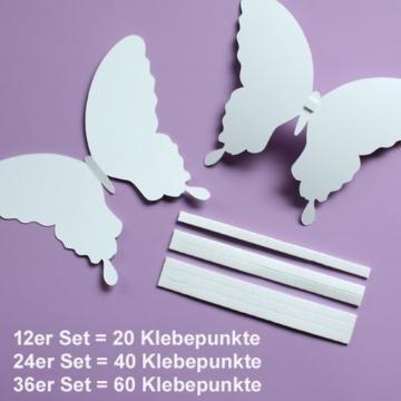 Wandkings Schmetterlinge im 3D-Style in ROSA, 12 Stück, Wanddekoration mit Klebepunkten zur Fixierung - 6