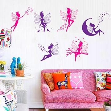 WandSticker4U- 6 tlg. Set: Zauberfeen in violette & pink | Wandtattoo Mädchen Prinzessin Sterne Mond Fee Engel Elfen Fairy | Wandsticker Aufkleber-Wand-Deko für Kinderzimmer Tür Schrank Mädchenzimmer - 2
