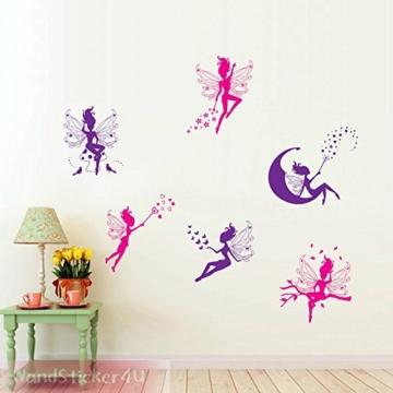 WandSticker4U- 6 tlg. Set: Zauberfeen in violette & pink | Wandtattoo Mädchen Prinzessin Sterne Mond Fee Engel Elfen Fairy | Wandsticker Aufkleber-Wand-Deko für Kinderzimmer Tür Schrank Mädchenzimmer - 3