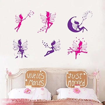 WandSticker4U- 6 tlg. Set: Zauberfeen in violette & pink | Wandtattoo Mädchen Prinzessin Sterne Mond Fee Engel Elfen Fairy | Wandsticker Aufkleber-Wand-Deko für Kinderzimmer Tür Schrank Mädchenzimmer - 4