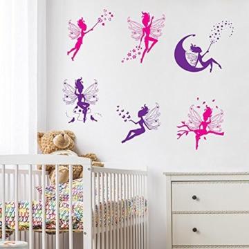 WandSticker4U- 6 tlg. Set: Zauberfeen in violette & pink | Wandtattoo Mädchen Prinzessin Sterne Mond Fee Engel Elfen Fairy | Wandsticker Aufkleber-Wand-Deko für Kinderzimmer Tür Schrank Mädchenzimmer - 1