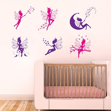 WandSticker4U- 6 tlg. Set: Zauberfeen in violette & pink | Wandtattoo Mädchen Prinzessin Sterne Mond Fee Engel Elfen Fairy | Wandsticker Aufkleber-Wand-Deko für Kinderzimmer Tür Schrank Mädchenzimmer - 5