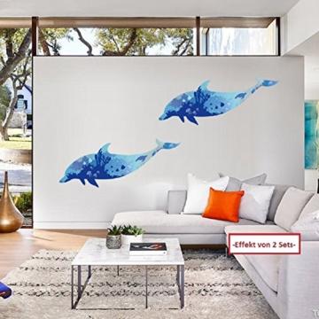 WandSticker4U- Wandtattoo riesige DELFIN | Wandbild: 150x60cm | Wandsticker Delphin Unterwasserwelt Fische Ozean Aquarium See Meer Poster | Fliesenaufkleber Wand Deko Badezimmer Bad Kinderzimmer - 3