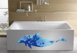 WandSticker4U- Wandtattoo riesige DELFIN | Wandbild: 150x60cm | Wandsticker Delphin Unterwasserwelt Fische Ozean Aquarium See Meer Poster | Fliesenaufkleber Wand Deko Badezimmer Bad Kinderzimmer - 1