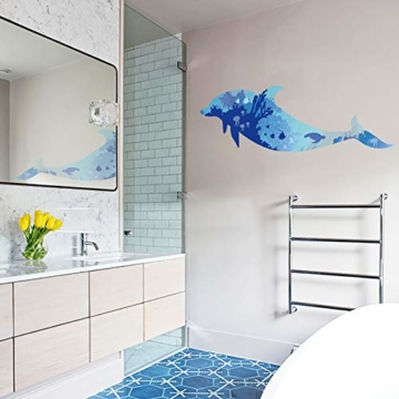 WandSticker4U- Wandtattoo riesige DELFIN | Wandbild: 150x60cm | Wandsticker Delphin Unterwasserwelt Fische Ozean Aquarium See Meer Poster | Fliesenaufkleber Wand Deko Badezimmer Bad Kinderzimmer - 5
