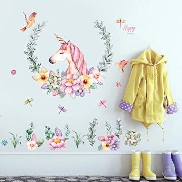 WandSticker4U- XL Wandtattoo Aquarell EINHORN mit Blumen | Wandbild: 110x110 cm | Wandsticker Pferdekopf Vogel Schmetterlinge Tiere Poster Pferd | Deko fürs Kinderzimmer Mädchen Prinzessin Pferde-Fans - 2