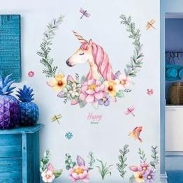 WandSticker4U- XL Wandtattoo Aquarell EINHORN mit Blumen | Wandbild: 110x110 cm | Wandsticker Pferdekopf Vogel Schmetterlinge Tiere Poster Pferd | Deko fürs Kinderzimmer Mädchen Prinzessin Pferde-Fans - 1