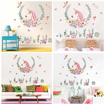 WandSticker4U- XL Wandtattoo Aquarell EINHORN mit Blumen | Wandbild: 110x110 cm | Wandsticker Pferdekopf Vogel Schmetterlinge Tiere Poster Pferd | Deko fürs Kinderzimmer Mädchen Prinzessin Pferde-Fans - 5
