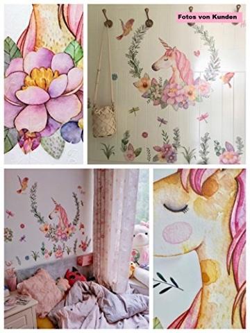WandSticker4U- XL Wandtattoo Aquarell EINHORN mit Blumen | Wandbild: 110x110 cm | Wandsticker Pferdekopf Vogel Schmetterlinge Tiere Poster Pferd | Deko fürs Kinderzimmer Mädchen Prinzessin Pferde-Fans - 6