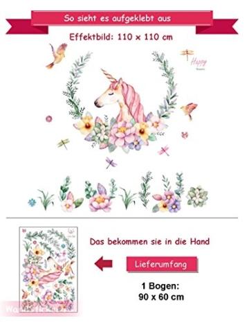 WandSticker4U- XL Wandtattoo Aquarell EINHORN mit Blumen | Wandbild: 110x110 cm | Wandsticker Pferdekopf Vogel Schmetterlinge Tiere Poster Pferd | Deko fürs Kinderzimmer Mädchen Prinzessin Pferde-Fans - 7