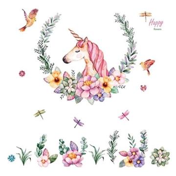 WandSticker4U- XL Wandtattoo Aquarell EINHORN mit Blumen | Wandbild: 110x110 cm | Wandsticker Pferdekopf Vogel Schmetterlinge Tiere Poster Pferd | Deko fürs Kinderzimmer Mädchen Prinzessin Pferde-Fans - 8