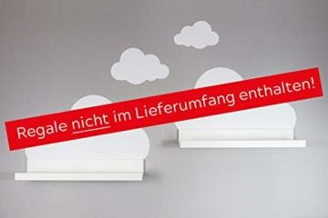 Wandtattoo Wolken in weiß für IKEA Regalbrett Ribba/Mosslanda 55 cm Bilderleiste für Babyzimmer Kinderzimmer – Aufkleber für Wand und Tapete - 3