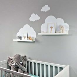 Wandtattoo Wolken in weiß für IKEA Regalbrett Ribba/Mosslanda 55 cm Bilderleiste für Babyzimmer Kinderzimmer – Aufkleber für Wand und Tapete - 1