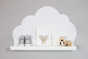 Wandtattoo Wolken in weiß für IKEA Regalbrett Ribba/Mosslanda 55 cm Bilderleiste für Babyzimmer Kinderzimmer – Aufkleber für Wand und Tapete - 5