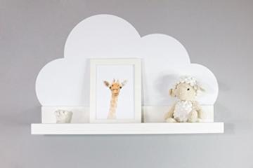 Wandtattoo Wolken in weiß für IKEA Regalbrett Ribba/Mosslanda 55 cm Bilderleiste für Babyzimmer Kinderzimmer – Aufkleber für Wand und Tapete - 6