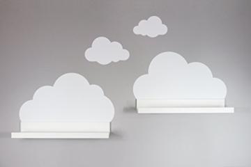 Wandtattoo Wolken in weiß für IKEA Regalbrett Ribba/Mosslanda 55 cm Bilderleiste für Babyzimmer Kinderzimmer – Aufkleber für Wand und Tapete - 8