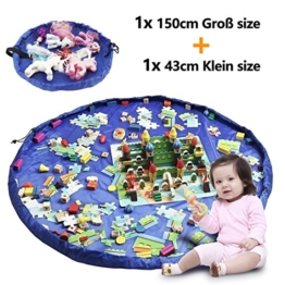 2er Set Kinder Aufräumsack, XXL Baby Spieldecke Spielsack Spielzeugteppich Spielzeug Beutel, Spielmatte Speicher Tasche Aufbewahrung Beutel Spielzeugsack für Kinderzimmer Outdoor Picknick Teppich - 1