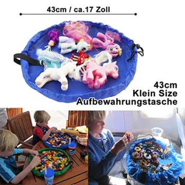 2er Set Kinder Aufräumsack, XXL Baby Spieldecke Spielsack Spielzeugteppich Spielzeug Beutel, Spielmatte Speicher Tasche Aufbewahrung Beutel Spielzeugsack für Kinderzimmer Outdoor Picknick Teppich - 5