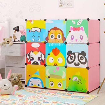 BAMNY Kinderzimmer Kleiderschrank, Aufbewahrungsregal für Kleidungen Schuhe Spielzeuge, DIY Steckschrank mit 1 Kleiderstangen und Tieren Motiven(Rosa) - 2