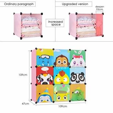 BAMNY Kinderzimmer Kleiderschrank, Aufbewahrungsregal für Kleidungen Schuhe Spielzeuge, DIY Steckschrank mit 1 Kleiderstangen und Tieren Motiven(Rosa) - 3