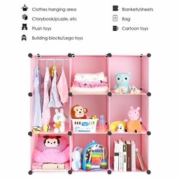 BAMNY Kinderzimmer Kleiderschrank, Aufbewahrungsregal für Kleidungen Schuhe Spielzeuge, DIY Steckschrank mit 1 Kleiderstangen und Tieren Motiven(Rosa) - 4