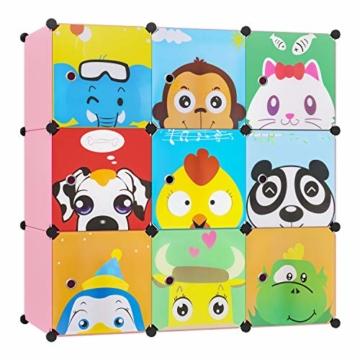 BAMNY Kinderzimmer Kleiderschrank, Aufbewahrungsregal für Kleidungen Schuhe Spielzeuge, DIY Steckschrank mit 1 Kleiderstangen und Tieren Motiven(Rosa) - 1