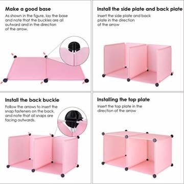BAMNY Kinderzimmer Kleiderschrank, Aufbewahrungsregal für Kleidungen Schuhe Spielzeuge, DIY Steckschrank mit 1 Kleiderstangen und Tieren Motiven(Rosa) - 5