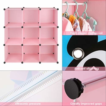 BAMNY Kinderzimmer Kleiderschrank, Aufbewahrungsregal für Kleidungen Schuhe Spielzeuge, DIY Steckschrank mit 1 Kleiderstangen und Tieren Motiven(Rosa) - 6