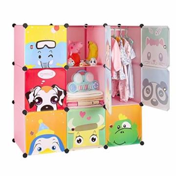 BAMNY Kinderzimmer Kleiderschrank, Aufbewahrungsregal für Kleidungen Schuhe Spielzeuge, DIY Steckschrank mit 1 Kleiderstangen und Tieren Motiven(Rosa) - 7