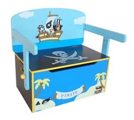 Bebe Style PRF1CTB-Blue Verwandelbare Spielzeugkiste + Tischbank + Stuhl - Holzkiste Aufbewahrung, blau - 1