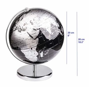 Exerz Metallisch Globus (Durchmesser: 20 cm) - Pädagogisch/Geografisch/Dekoration - Mit einem Metallfuß - in Englischer Sprache (20CM Metallisches Schwarz) - 2