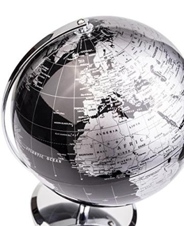 Exerz Metallisch Globus (Durchmesser: 20 cm) - Pädagogisch/Geografisch/Dekoration - Mit einem Metallfuß - in Englischer Sprache (20CM Metallisches Schwarz) - 3