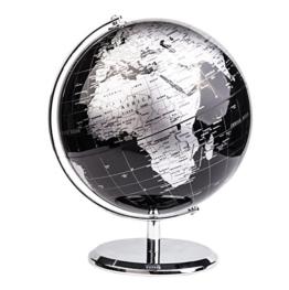 Exerz Metallisch Globus (Durchmesser: 20 cm) - Pädagogisch/Geografisch/Dekoration - Mit einem Metallfuß - in Englischer Sprache (20CM Metallisches Schwarz) - 1